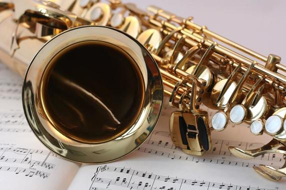saxophone and sheet of music